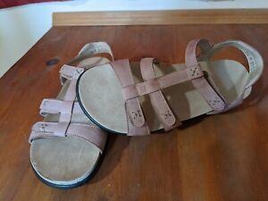 SAS Sorrento Praline Leather T-Strap Comfort Sandals Womens Sz.7.5 M Cute!