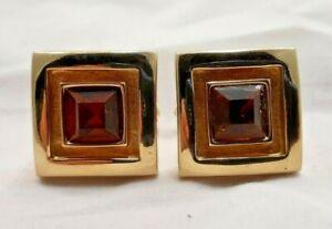 Mens-Vintage-Swank-Cuff-Links-Cufflinks-Square-Goldtone-Faux-Topaz-Stone-7466F