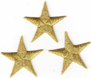 """1 1//4/"""" Royal Blue Stars 3 Pc STARS -Iron On Embroidered Applique//Astrology"""