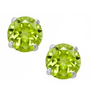 925-Sterling-Silver-Light-Green-Peridot-Round-Shape-w-Screw-Back-Stud-Earrings