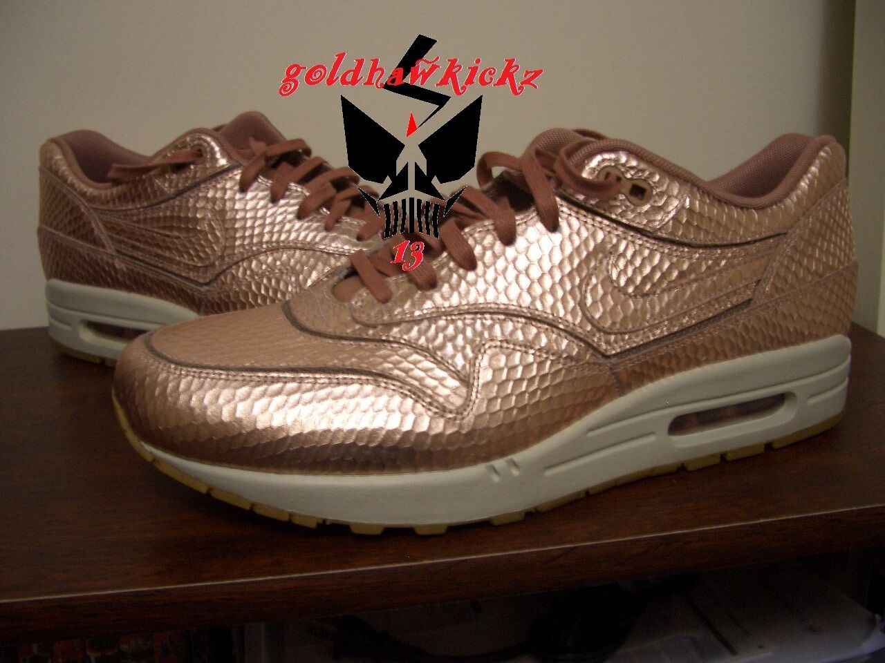 Nike air max 1 premio rosso di bronzo metallico tagliato sonodiventate 644398 900