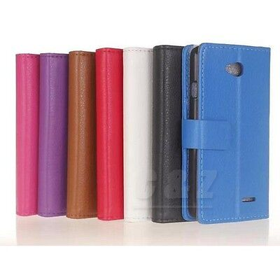 7 Colors Flip Folio Wallet  Leather Case + LCD Film For LG L65 D280N a