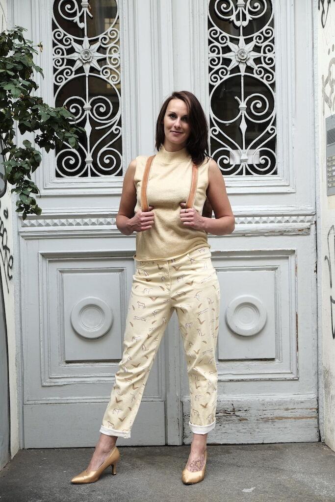 Rigany CAMICIA DA DONNA TOP TG TG TG S oro LUREX 90er True Vintage seta miscela 711866