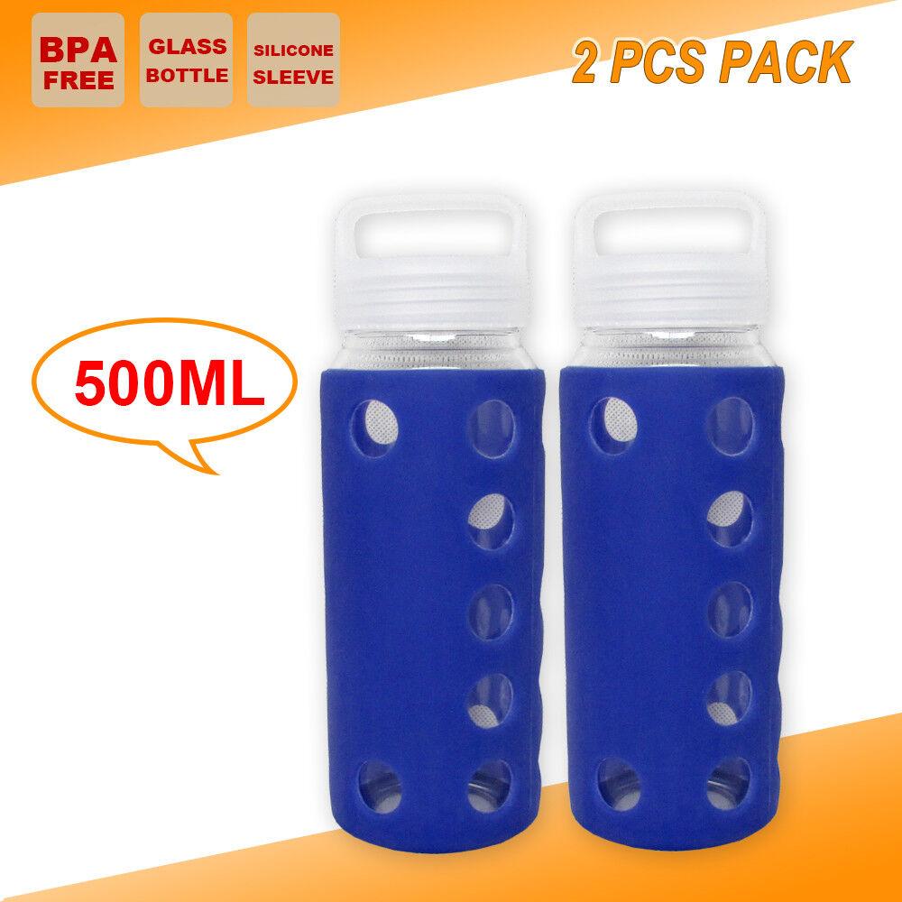 2x Sport Glass Water Bottle Hydration Outdoor Hiking Gym Kettle BPA FREE