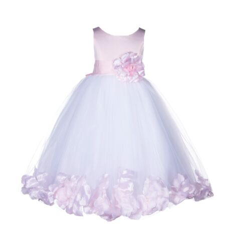New White Wedding Pageant Rose Petal Flower Girl Dress Toddler Holiday Gown 167s