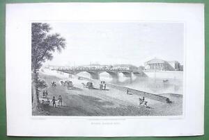 PARIS-France-Bridge-Pont-Louis-XVI-1823-Antique-Print-by-Cpt-Batty