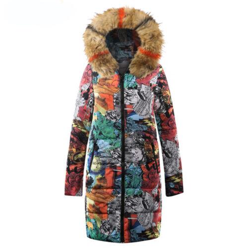 Womens Floral Leopard Print Winter Warm Thick Fur Collar Down Coat Puffer Jacket