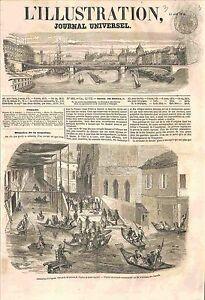 Inondation-de-la-Collegiale-Saint-Agricol-d-039-Avignon-GRAVURE-ANTIQUE-PRINT-1856