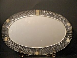 Vintage Vanity Perfume Mirror Oval Tray In Crystal Diamond Cut Frame Ebay