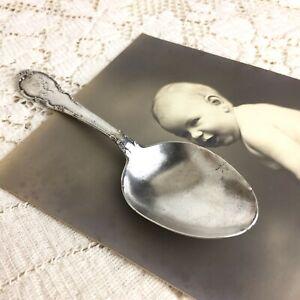 Vintage Lunt Sterling Silver Baby Spoon 925 Victorian Christening Nursery Bear