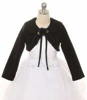Girls Black Bolero Jacket Coat Wrap Wedding Christmas Pageant Birthday 216