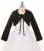 Girls Black Bolero Jacket Coat Wrap Wedding Christmas Pageant Birthday 216