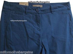 Nueva-camiseta-para-mujer-Marks-amp-Spencer-Azul-Brillante-Chino-Pantalones-Tamano-12