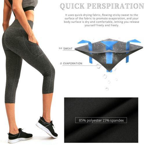 Women/'s High Waist Yoga Cropped Pants with Pockets Tummy Control Workout Running