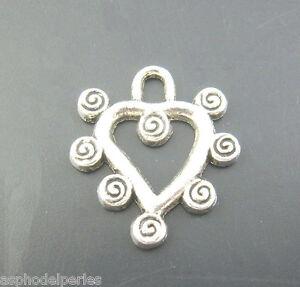 5 Pendentifs Coeur Argenté Spirales 19 X 21 Mm Sans Nickel