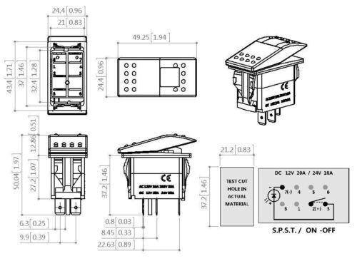 Orange Rocker Switch 2 Position 3 Pin Led Light 20 amp 12V UTV Boat Polaris 1000
