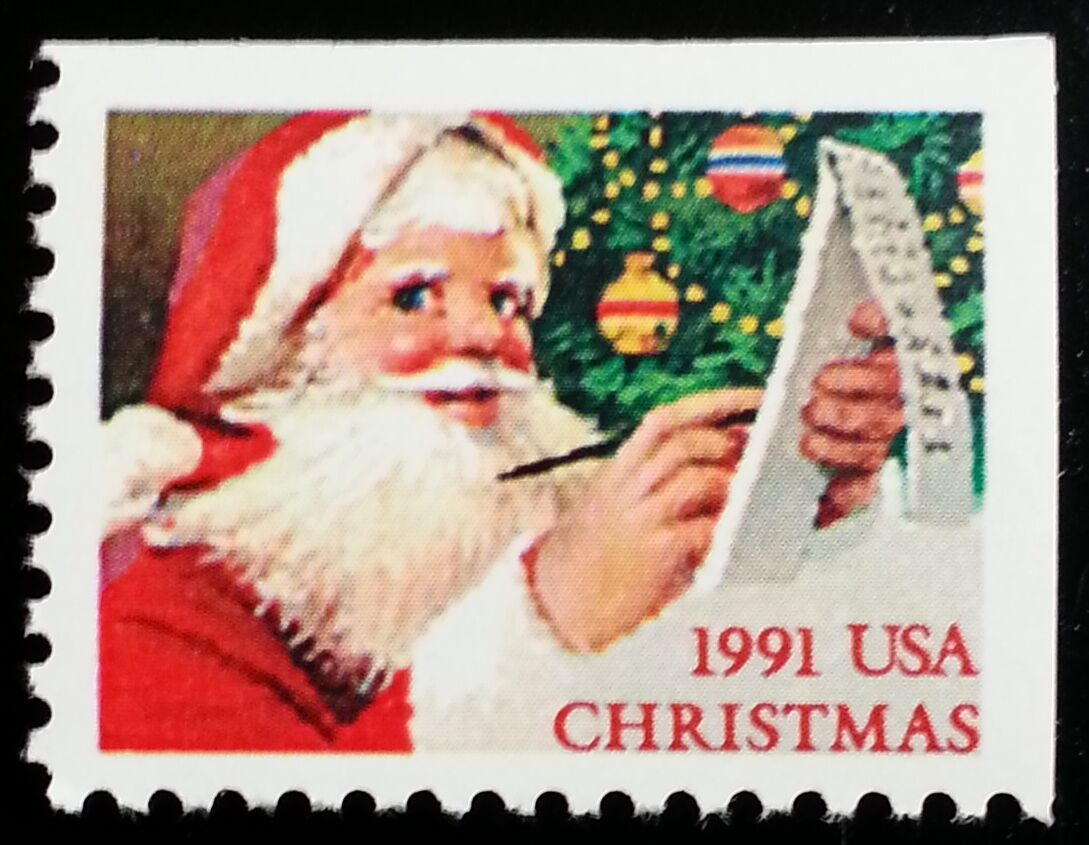 1991 29c Santa's Christmas List, Booklet Single Scott 2