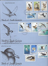 SOUTH GEORGIA:1987 Birds definitive set on  three illustrated FDC-SG 161-75