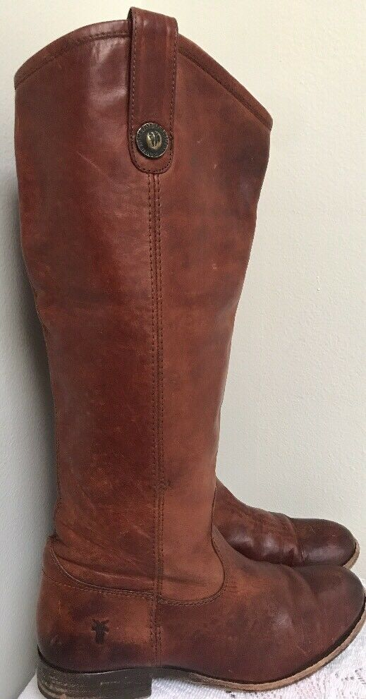 Wms FRYE Melissa Button Tall Cognac Leather Riding Boot Sz 5.5M MSRP