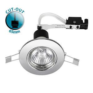 Recessed Gu10 Fixed Ceiling Spotlight Downlight 240v Mains Light Downlighter Chrome 10