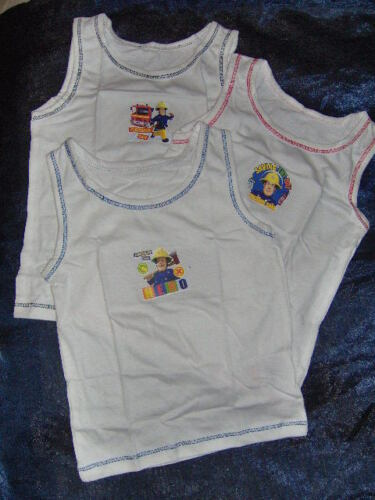 AGES 18-24M 2//3-3//4-4//5Y 3 PACK FIREMAN SAM BOYS WHITE VESTS