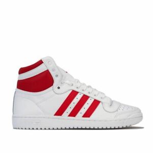 Hommes-Adidas-Originals-Top-Ten-Hi-Lacets-Matelasse-Baskets-en-Blanc