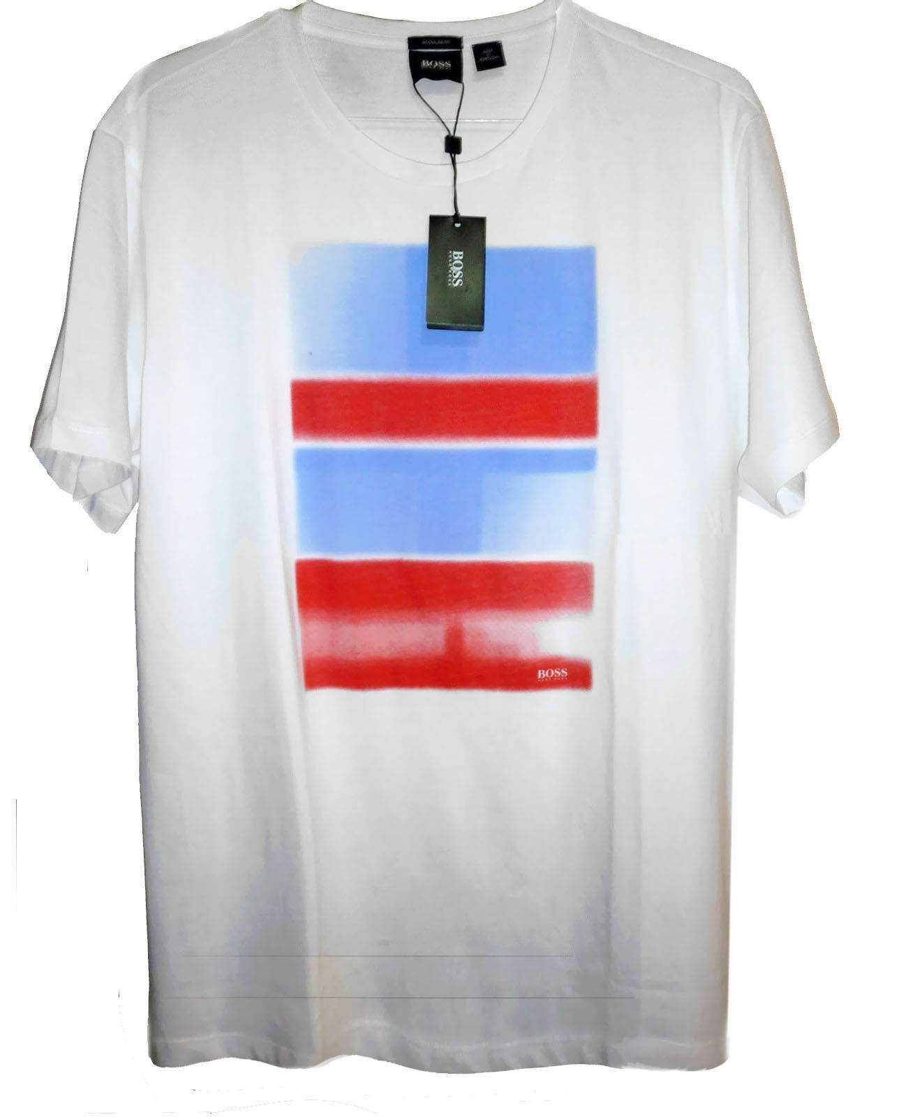 Hugo Boss Red White bluee Graphic Cotton Men's Regular Fit T-Shirt Size 2XL NEW
