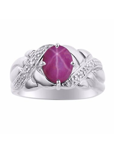 Color Stone Birthstone Ring DS Details about  /Diamond /& Star Ruby Ring Set In Sterling Silver