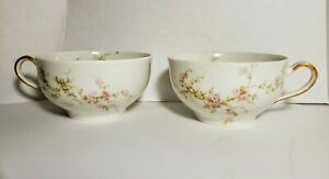 Theodore-Haviland-Limoge-France-Lucille-2-TEA-CUPS-NO-SAUCERS