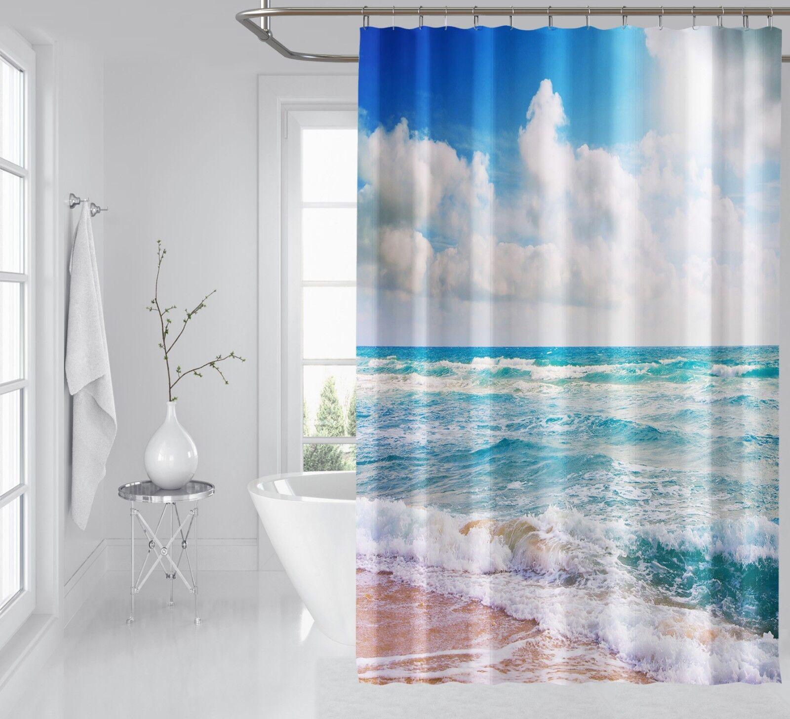 3D Beach Cloud 5 Shower Curtain Waterproof Fiber Bathroom Home Windows Toilet