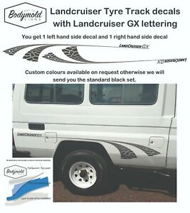 TOYOTA-LANDCRUISER-TROOP-CARRIER-Tyre-Track-Decals-with-RX-letters
