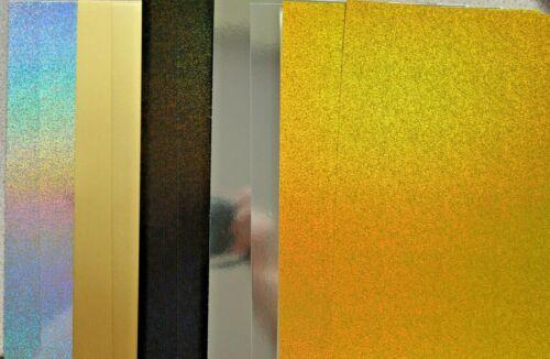 plata y negro frustración /& Holográfico 280gsm Nuevo 10 X A4 Asst tarjeta con oro