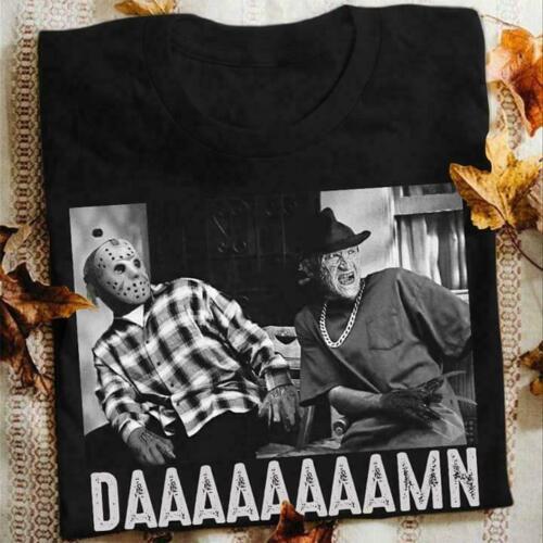 Jason Voorhees Freddy Krueger Daaaamn Men T-Shirt Cotton S-5XL Black Cotton Tee