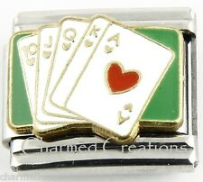 9mm Italian Charm Link Royal Flush Poker Card Games Las Vegas Gambling Casino