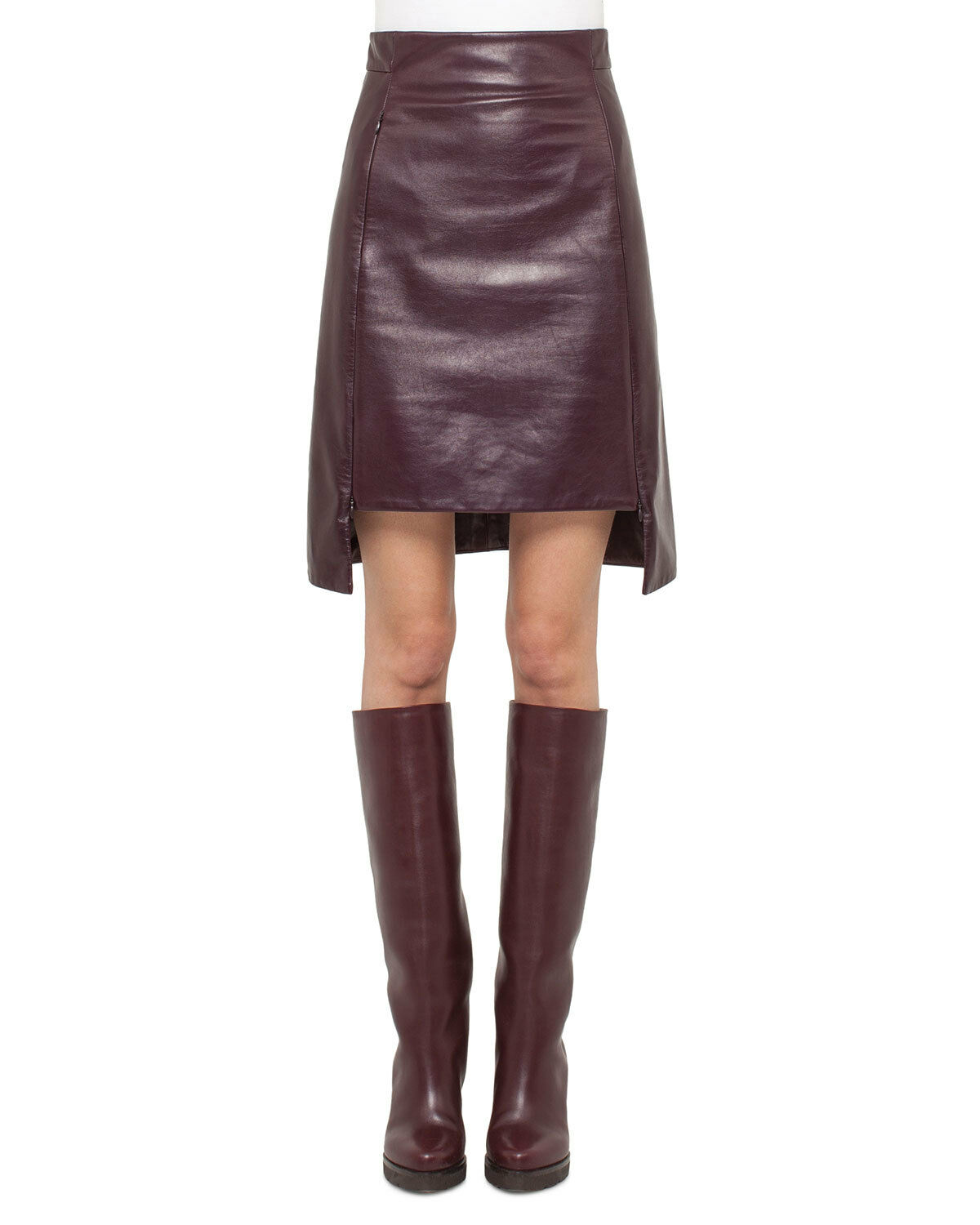 Trendy Women Burgundy midi Skirt Natural Lambskin Leather