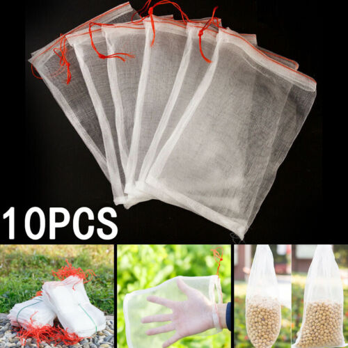10 Pack Reusable Produce Bags Black ROPE Mesh Vegetable Fruit Toys Storage Pouch