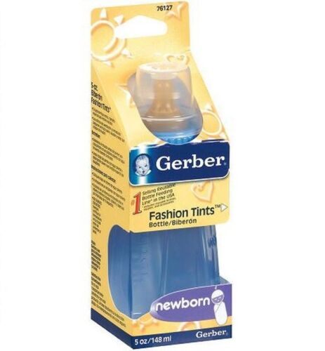 // 9oz 3,6,12,36 GERBER Clear or Colors Plastic BABY Latex BOTTLE 5oz Bottles