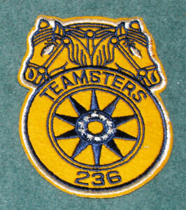 Details about Vintage Embroidered Teamsters Union 236 Patch On Felt