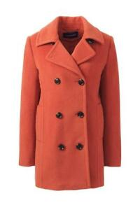98a054edf96 LANDS  END Plus Size 26W Orange Clay Relaxed Wool Peacoat NWT  249 ...