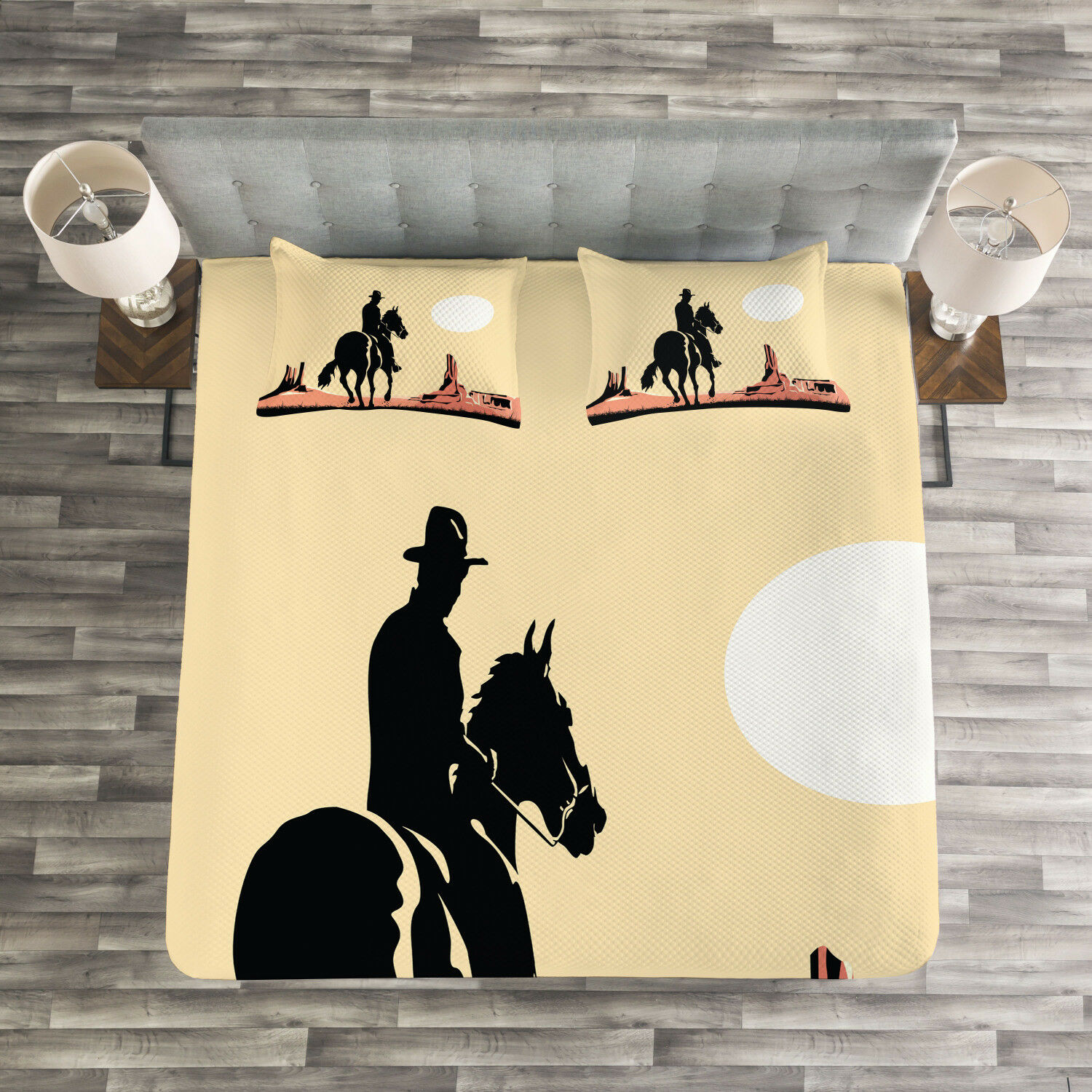 Western Quilted Bedspread & Pillow Shams Set, Cowboy Horse Sunset Print