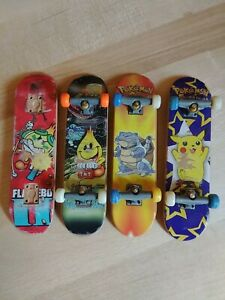 Vintage Tech Deck Collection Lot of 4 Element and Pokemon Boards and Parts