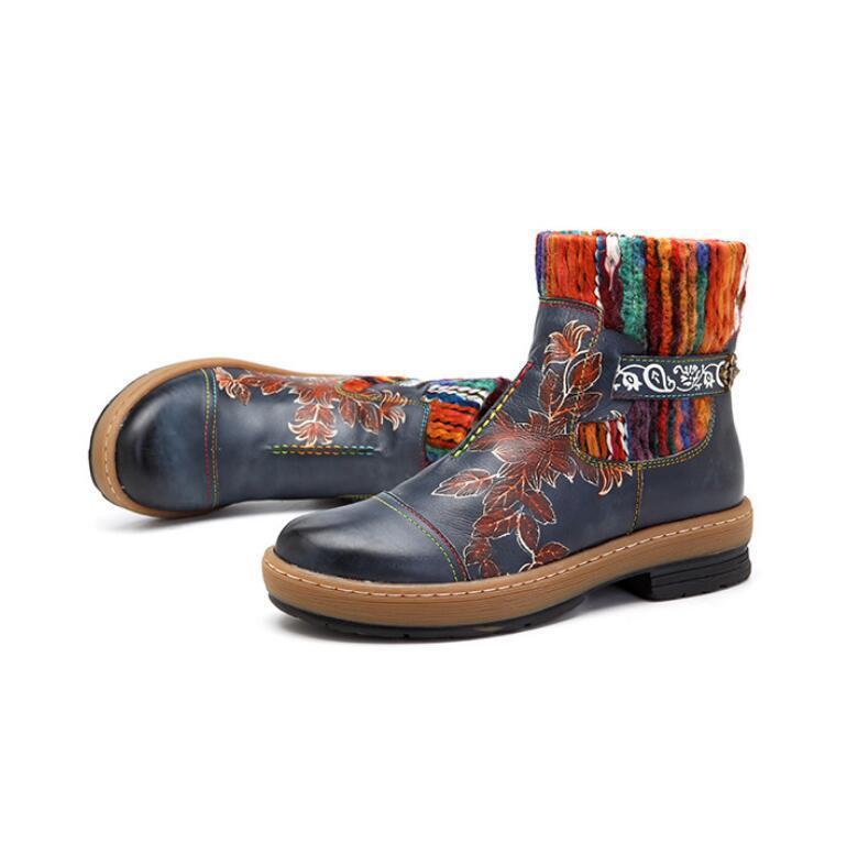 Zyyd Para mujeres Bohemia De De De Cuero Real De Punta rojoonda Decoración Floral Zapatos botas de suela de goma  venta de ofertas