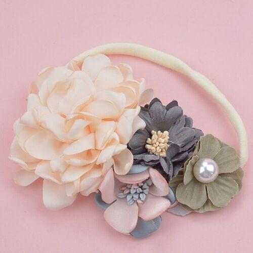 Baby Headband Pearl Floral Girl Elastic Hairband Photography Hair Accessories