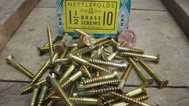 "10 x NETTLEFOLDS 4/"" x 12  BRASS COUNTERSUNK SCREWS GKN SLOTTED RESTORE NOS"