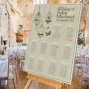 Details about Personalised Wedding Table Seating Plan- RUSTIC 3 BIRDCAGE -  4 SIZES