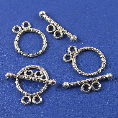 25sets dark silver tone toggle clasp h3511
