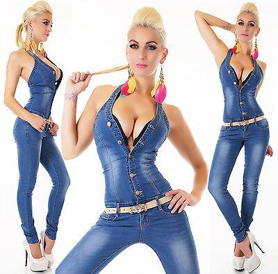 Women's Halter Denim Jeans Jumpsuit Overall + Belt - S/M/L/XL