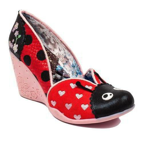Irregular Choice Lady Bee Womens Ladies Ladybird Wedge Heel Shoes Size 4-7.5