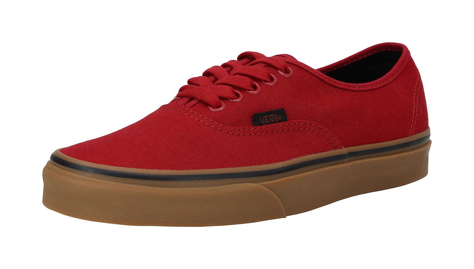 c4544b99f4 VANS Authentic Mens Gum Racing Red Black Canvas Skate Boat Shoes ...