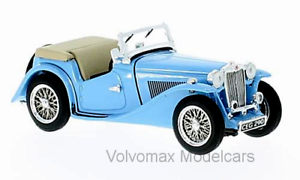 Wonderful modelcar MG TC Roadster 1945 RHD open - lightbluee - 1 43 - lim.ed.